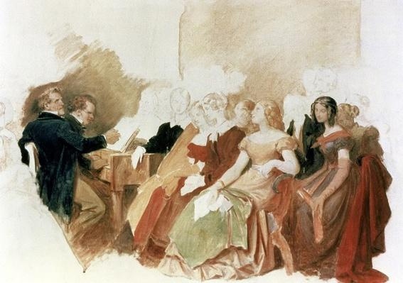 Study for An Evening at Baron von Spaun's: Schubert at the piano among his friends, including the operatic baritone Heinrich Vogl