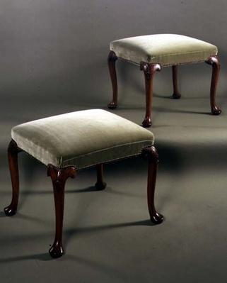 Pair of stools, upholstered, c.1710