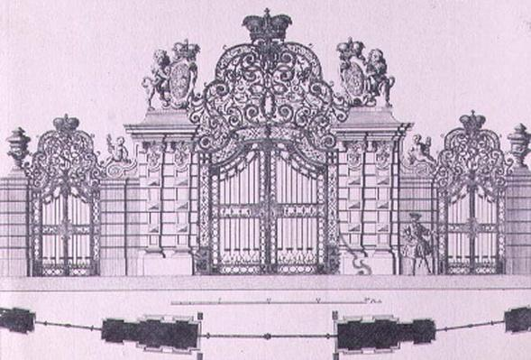 Plan and elevation of the entrance gates to Schloss Belvedere in Vienna probably designed by Johann George Oegg c.1725, engraved by Johann August Corvinus