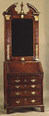 Small Queen Anne bureau bookcase with gilt mounts, 18th century