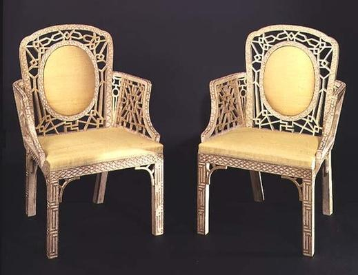 Pair of Chinese Chippendale chairs, c.1770