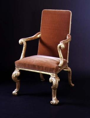 Gilt armchair with velvet upholstery, c.1710
