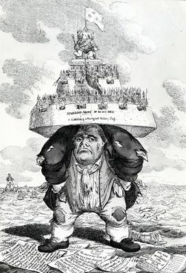 The British Atlas, or John Bull supporting the peace establishment, print made by Charles Williams, 1816