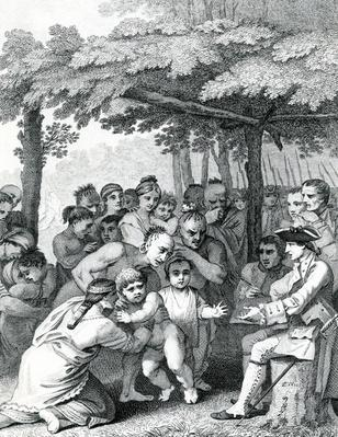 The Indians delivering up the English Captives to Colonel Bouquet near his Camp at the Forks of Muskingham in North Anerica, engraved by Canot, 1764