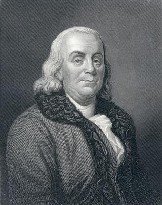 Benjamin Franklin, engraved by J. Thomson after an original picture by J. A. Dupessis, 19th Century