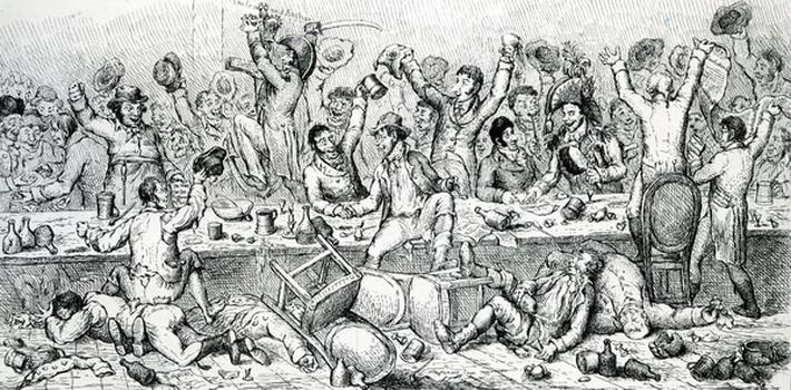The Reformers Dinner, illustration taken from 'the Satirist', 1809