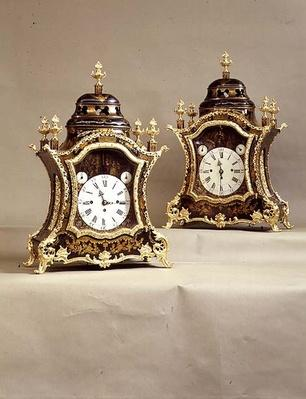 Pair of clocks with ormolu mounts, movement by Charles Cabrier, early 18th century