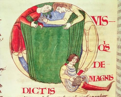 Ms 173 fol.92v Historiated initial 'Q' depicting drapers, from Moralia in Job by Pope Gregory the Great, Burgundian School