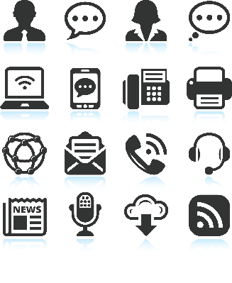 Social Technology and internet Black and White Icon Set | Clipart