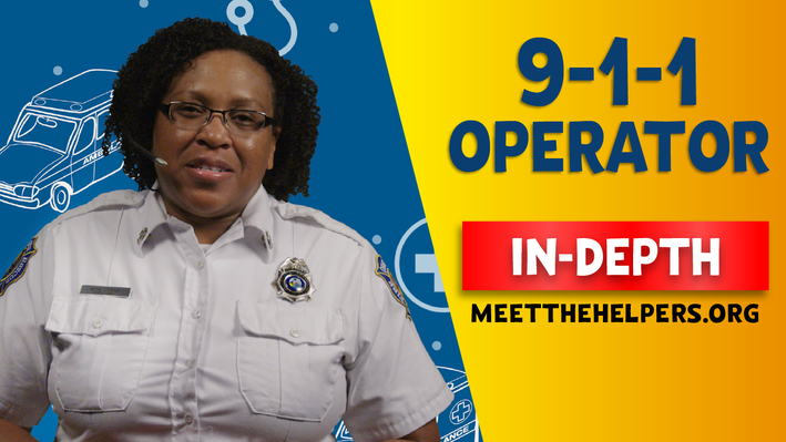 911 Operator In-Depth. Female 911 Operator with headset and badge.