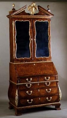 George I bureau bookcase with bombe sides and ormolu mounts, c.1720