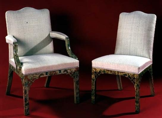 Part of a set of armchairs and chairs with painted chinoiserie supports, c.1760