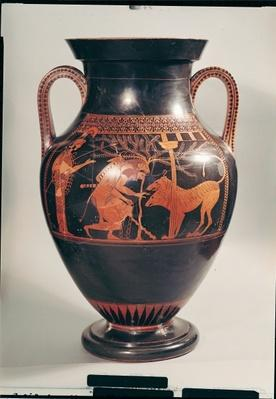 Attic red-figure belly amphora depicting Herakles capturing Kerberus, Greek, from Athens, 6th century BC