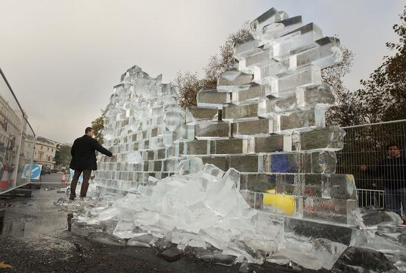 Berlin Wall Ice Sculpture Unveiled In London | Berlin Wall | The 20th Century Since 1945: Postwar Politics