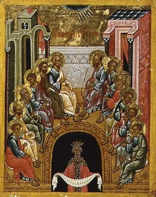 The Descent of the Holy Spirit, Russian icon from the Cathedral of St. Sophia, Novgorod School, 15th century