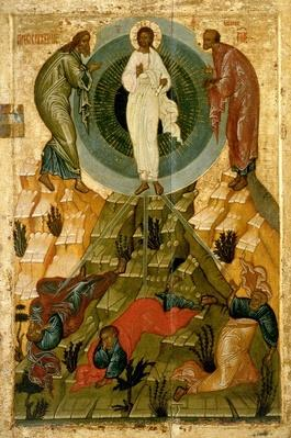 The Transfiguration of Our Lord, Russian icon from the Holy Theotokos Dormition Church on the Volotovo field near Novgorod