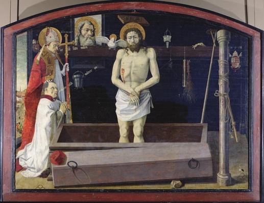 The Boulbon Altarpiece: The Trinity with a donor presented by St. Agricol, Provence School
