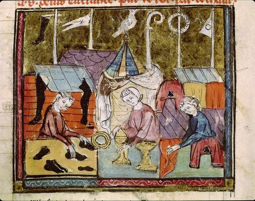 Fol.122v Merchants at the Lendit Fair near St. Denis, from the Grandes Chroniques de France, 1375-79