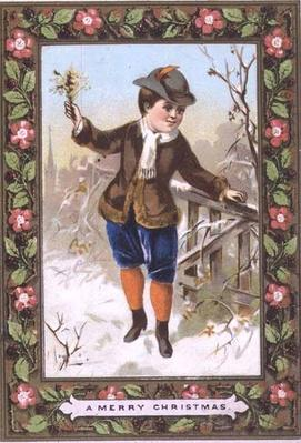 Christmas card depicting a boy walking in the snow