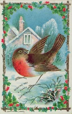 Christmas card depicting a robin