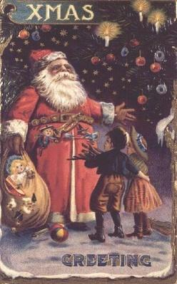 Postcard depicting Father Christmas with his sack of toys