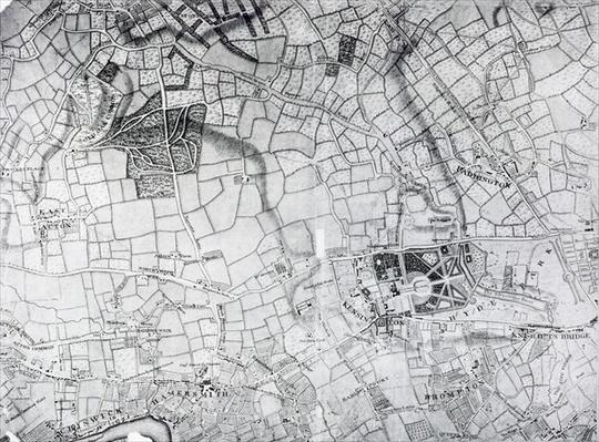 A section of a sheet from the survey of London and it's environs, 1741-5, pub. 1769