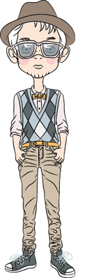 Funny Cartoon Hipster Boys | Clipart