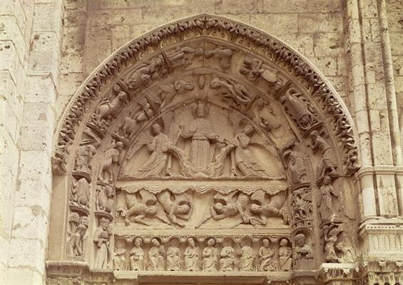 The Royal Portal, north door, tympanum depicting the Ascension, c.1145-50