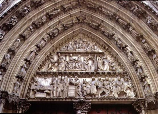 North transept portal, detail of tympanum depicting scenes from The Infancy of Christ and the Story of Theophilus, 1250