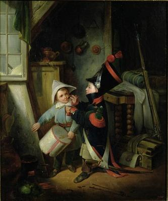 Two Boys Dressing Up as Soldiers by Jacquand, Claude (1804-78)