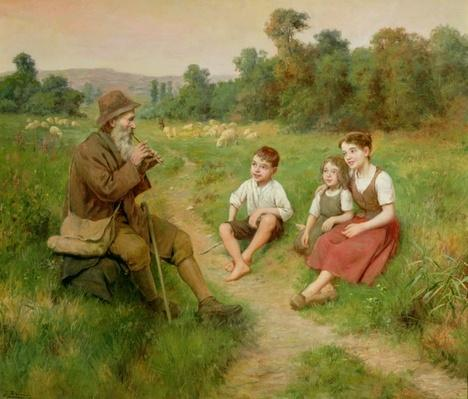 Children Listen to a Shepherd Playing a Flute by Alsina, J. (fl. 1900)