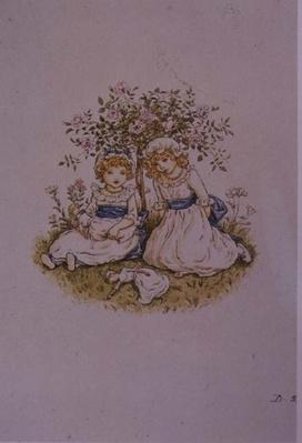 Two Girls with Dolls sitting under a rose bush, 19th century