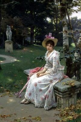 Young Woman Waiting on a Park Bench with a Parasol