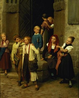 Schoolchildren Watching a Boy Cry, 1861