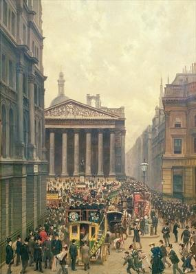 The Rush Hour by the Royal Exchange from Queen Victoria Street, 1904