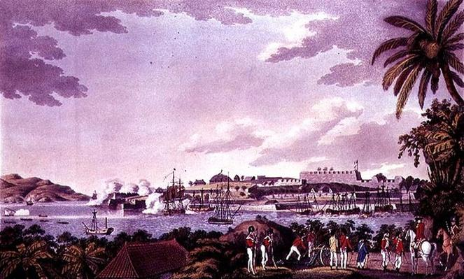 North East View of Fort Louis, Martinique, engraved by Samuel Alken