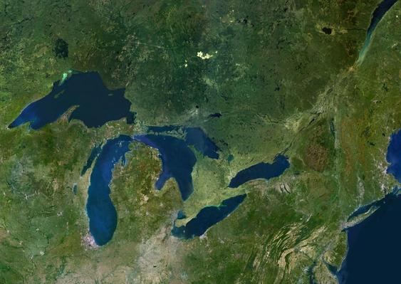 Great Lakes, USA & Canada, True Colour Satellite Image | Earth's Surface