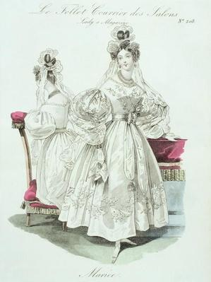 Wedding dress, from 'Le Follet Courrier des Salons Modes', 1832