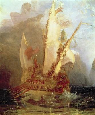 Ulysses Deriding Polyphemus, detail of ship, 1829