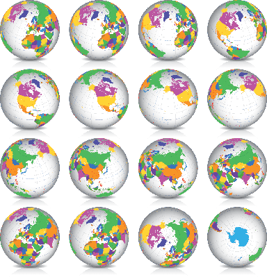 Earth Globe: Countries Latitude 45? N Views | Clipart