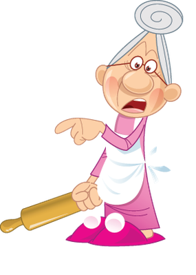 Grandmother Keeping Busy at Home | Clipart