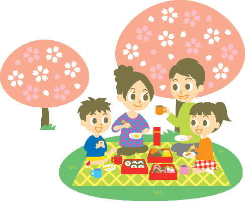 Ohanami, Family, Cherry Blossom Party | Clipart