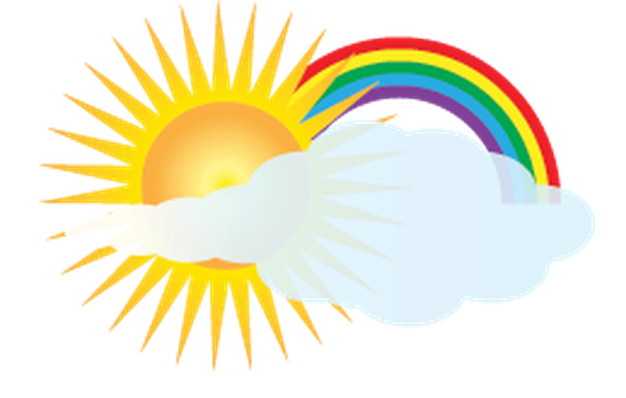 Weather - Sun, Rainbow, and Clouds | Clipart