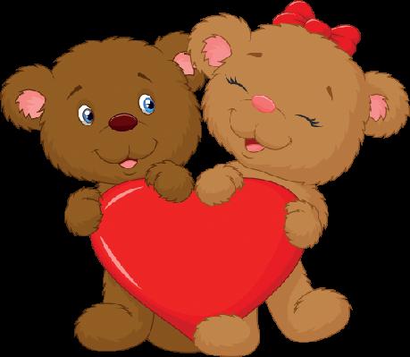 Bear Couple Cartoon Holding Red Heart Shape | Clipart