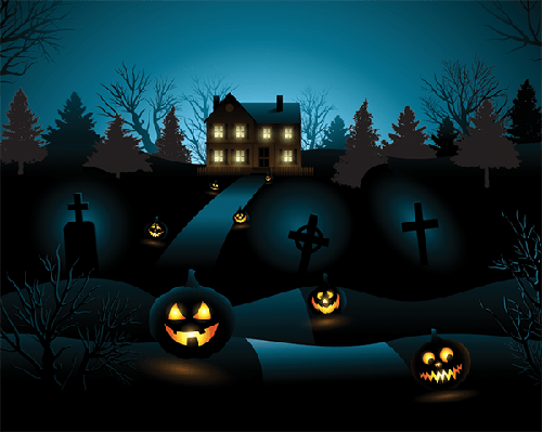 Blue Halloween Invitation: Haunted House Background | Clipart