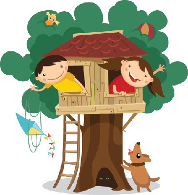 Children Having Fun in The Treehouse | Clipart
