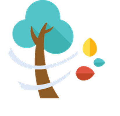 Autumn | Flat Color Icons - Wind, Tree, Leaves | Clipart