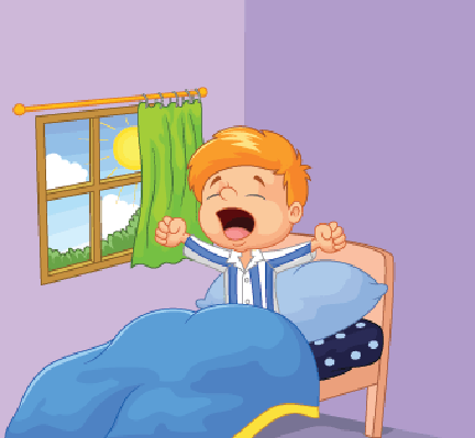 Little Boy Cartoon Woke Up and Yawns | Clipart