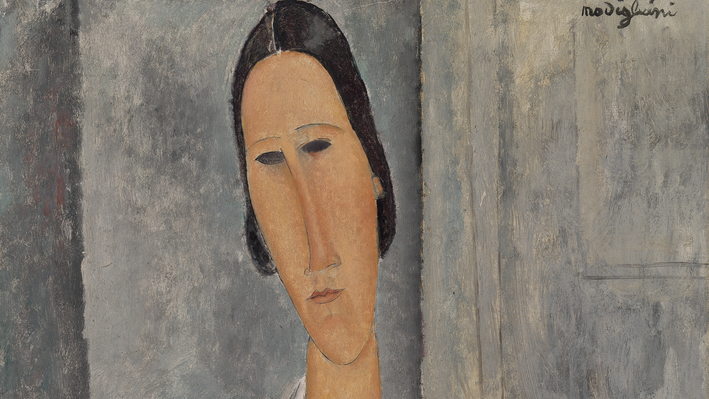 Madame Hanka Zborowski Leaning on a Chair (Madame Hanka Zborowski accoudée à une chaise), Amedeo Modigliani