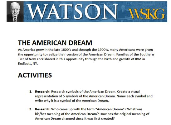 American Dream: Activities